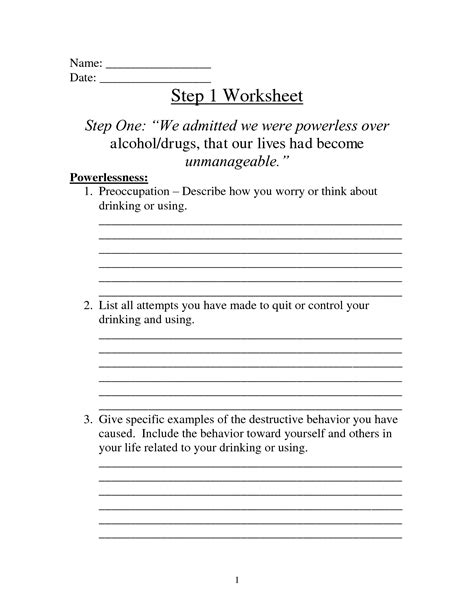 Step One Worksheet aa step 1 worksheet calleveryonedaveday