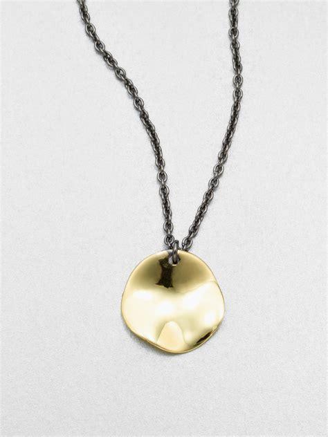 ippolita 18k gold disc pendant necklace in metallic for