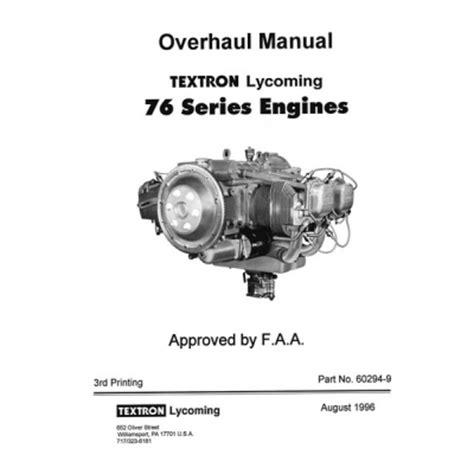 induction motor overhauling procedure lycoming 76 series engines overhaul manual 1996 part no 60294 9 13 95
