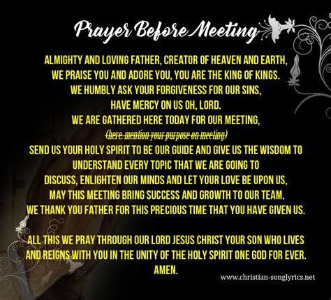 prayer before office meeting opening prayer for