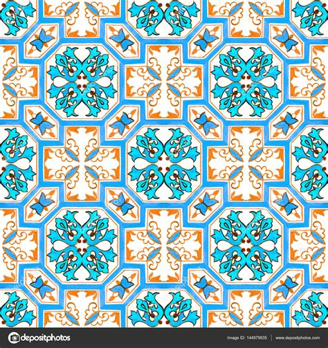 azulejo watercolor portuguese azulejo tiles watercolor seamless pattern