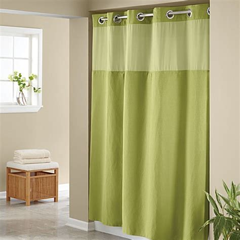 bed bath and beyond shower curtain liners hookless 174 waffle lime 71 quot x 74 quot fabric shower curtain and