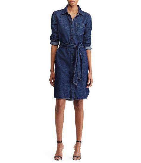 Dress Denim Longhem Denim Belt Tunik Denim by ralph denim shirt dress in blue lyst