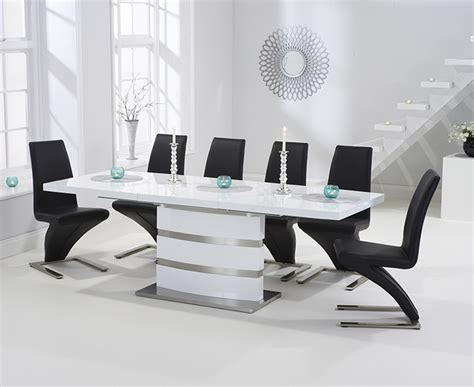 White High Gloss Dining Table 6 Chairs by Babington 160cm White High Gloss Extending Dining Table