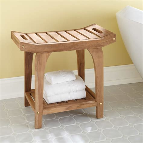 Bathroom Storage Stools Teak Rectangular Shower Stool With Handles Contemporary Shower Benches Seats By