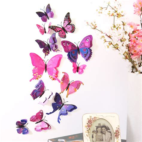 3d Butterfly Wall Sticker Stiker Dinding Kupu Kupu Yellow 12pcs aliexpress buy butterfly wall stickers layer 3d butterflies colorful bedroom living