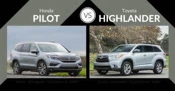 Compare Honda Pilot And Toyota Highlander 2016 Honda Pilot Vs Toyota Highlander