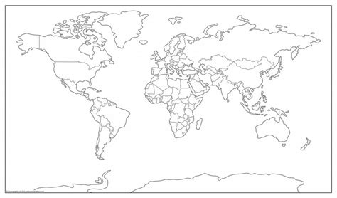 Outline Map Of The World To Print by Simplified World Map Outline 163 11 99 Cosmographics Ltd