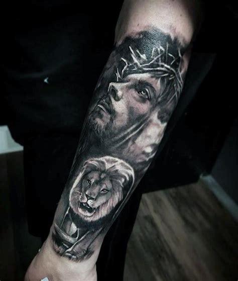 jesus lion tattoo 50 unique forearm tattoos for men cool ink design ideas