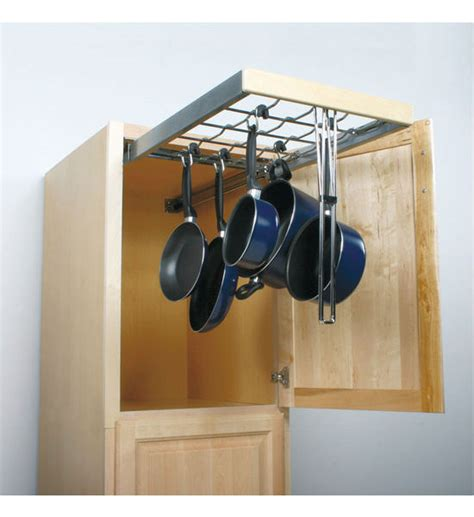 pull out cabinet organizer for pots and pans roll out pot and pan hanger in pull out cabinet shelves
