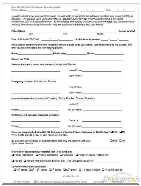 health questionnaire form template free health care consumer questionnaire health