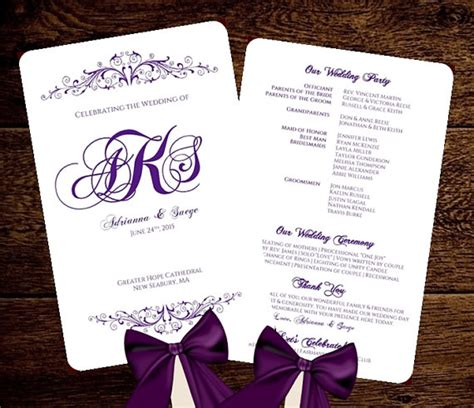 wedding fan program template purple monogram printable