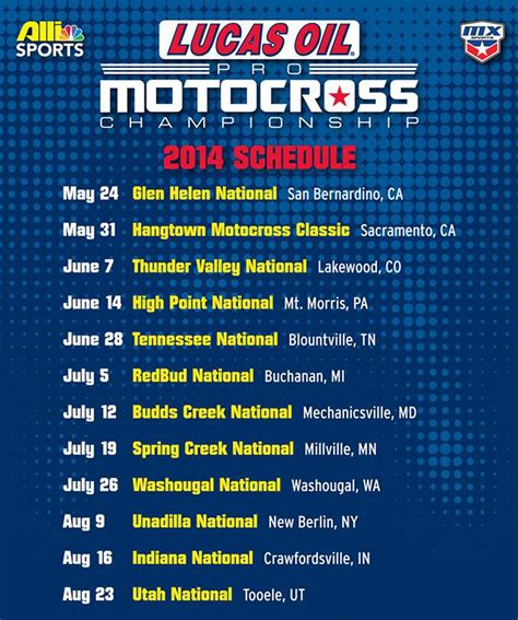 ama outdoor motocross schedule lucas oil pro motocross 2014 chionship schedule ama
