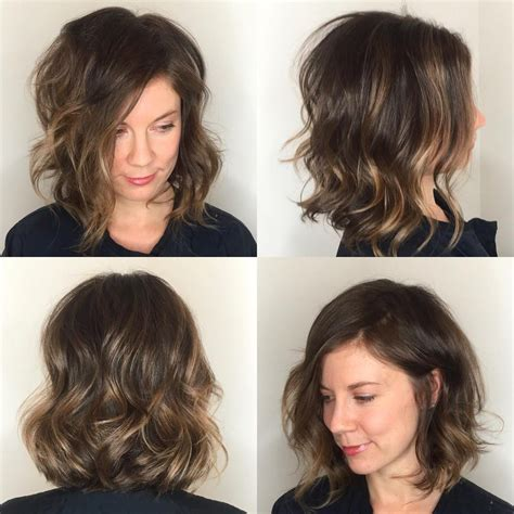 Lob With Soft Curl Hairstyle by S Angled Soft Layer Lob With Undone Wavy Texture And