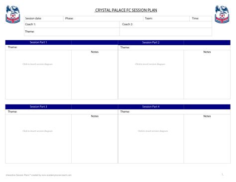 session plan template for interactive session plans academy soccer coach asc