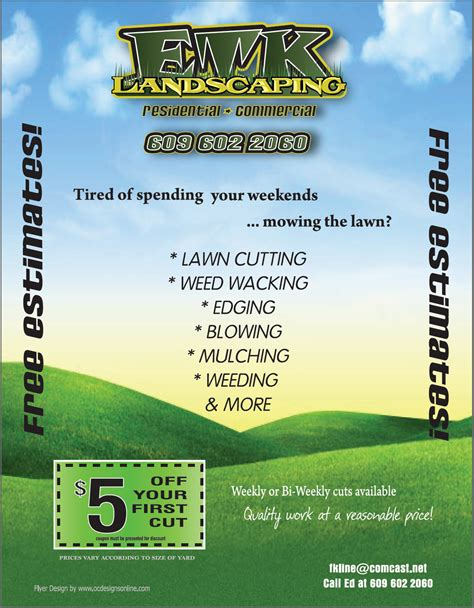 Landscaping Advertising Ideas Color Flyers As Promotional Materials For Neighborhood Landscapers Udawimowul
