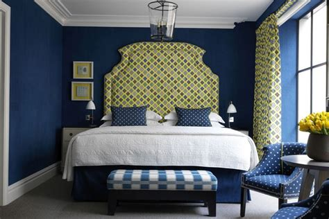 yellow and navy blue bedroom blue walls mixed yellow pattern kit kemp bedroom