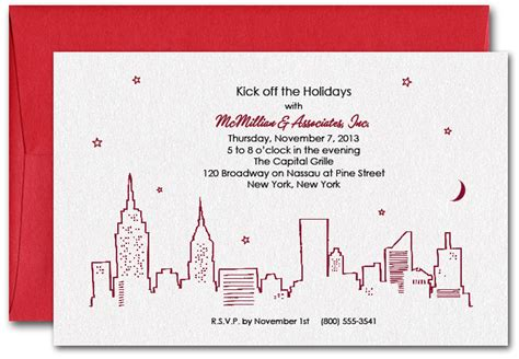 kids invitation cards red new york skyline party invitations
