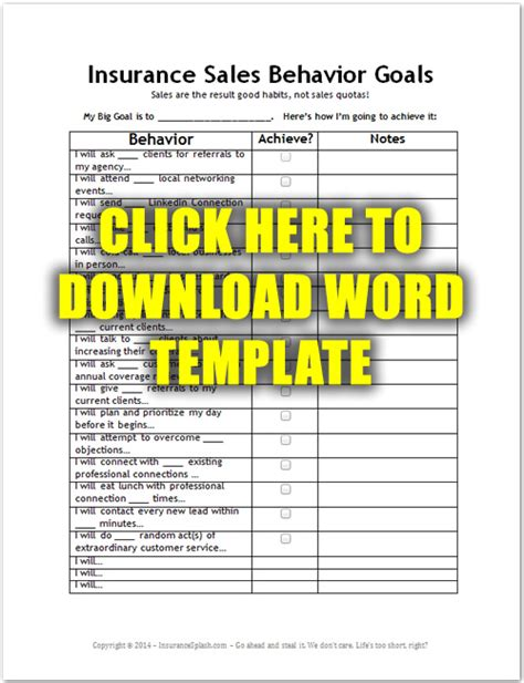 sales goals template setting insurance sales goals that work with free template