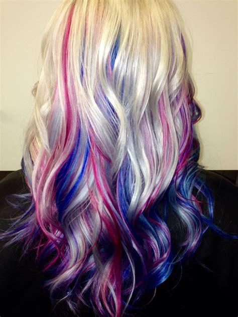 hair with purple streaks platinum hair with blue pink and purple streaks