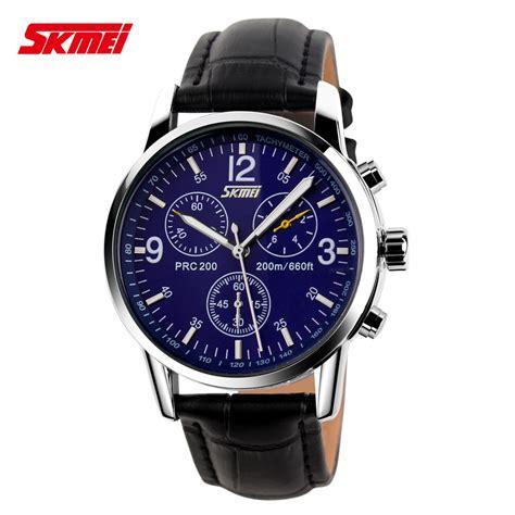 skmei jam tangan analog pria leather 9070cl blue jakartanotebook