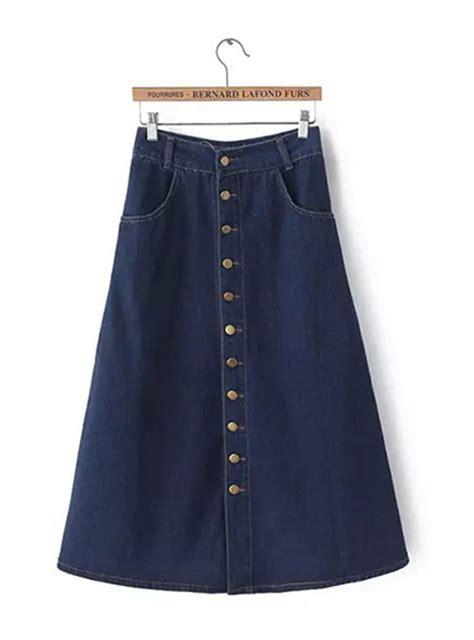 casual denim skirt button midi length