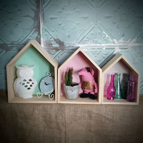 House Shelf by Set Of 3 Pastel House Shaped Display Units Shelves