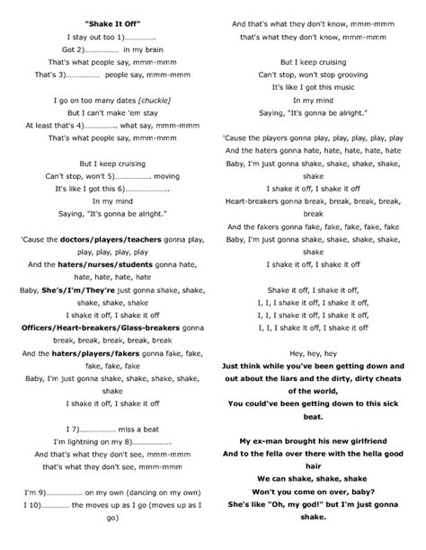 printable lyrics by taylor swift song worksheet shake it off by taylor swift