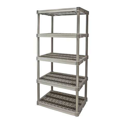 lowes shelving units shop plano 73 75 in h x 36 in w x 24 in d 5 tier plastic freestanding shelving unit at lowes