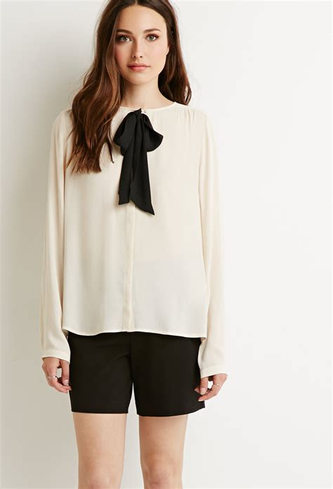 Bow Neck Blouse by Bow Blouse Forever 21 Leopard Trim Blouse