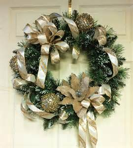 gold silver and white christmas wreath by cindyssilks on etsy