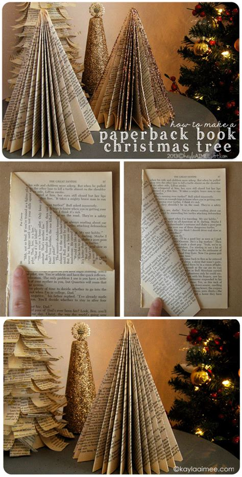 how to make a christmas tree from a paperback book