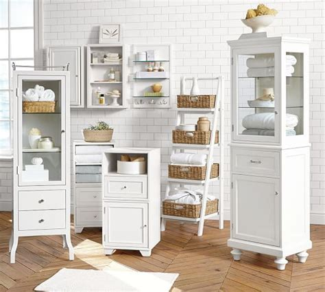 pottery barn bathroom storage ainsley ladder floor storage with baskets pottery barn