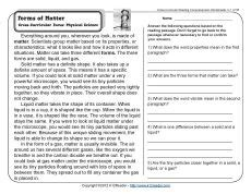 reading comprehension tests y4 forms of matter 3rd grade reading comprehension and