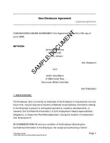 confidentiality agreement canada legal templates agreements contracts  forms