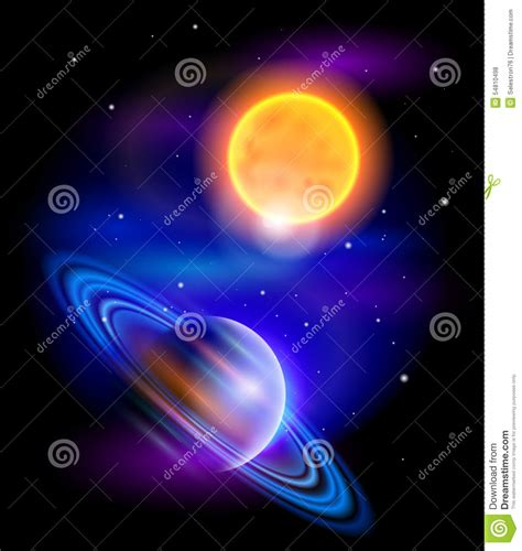 sun of saturn sun and saturn stock vector image 54810498