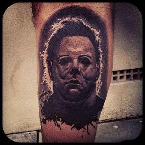 mike myers grey black and grey realistic mike myers halloween tattoo by