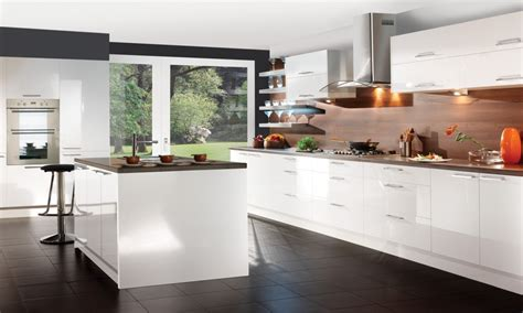 Glossy White Kitchen Cabinets by Miami Glossy Kitchen Cabinets Modern With Black Pendant