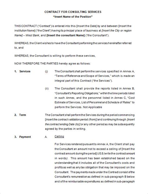 free consultant contract template 5 consulting contract templates free word pdf