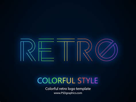 psd logo templates colorful retro logo template psd psdgraphics