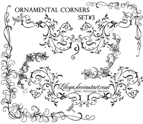 Wedding Border Photoshop Brushes by Ornamental Corners Set 3 Decorative Photoshop Brushes