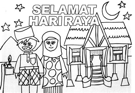 hari raya aidilfitri kad colouring pages page 2 the lazy ism mari mewarna
