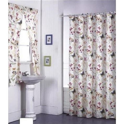 New Floral Butterflies 72 In Shower Curtain Fabric Shower Curtain Bathroom Sets