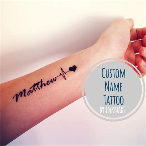 custom ekg heartbeat name temporary tattoo pulse heart by