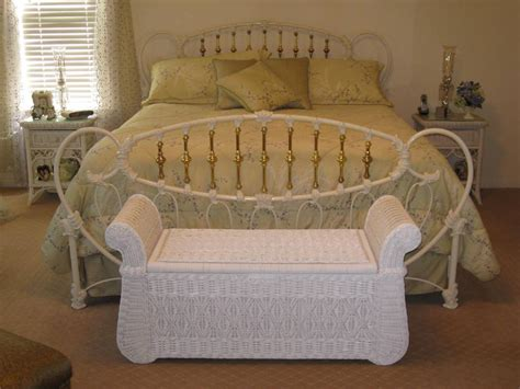 Wicker Rattan Bedroom Furniture White Polished Wrought Iron Bed Frame Which Mixed With Rattan Wicker Storage Bench Of