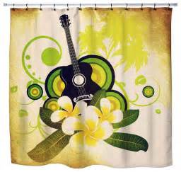 hawaiian plumeria and guitar shower curtain style