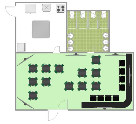 restaurant floor plan template restaurant floor plans software design your restaurant and layouts in minutes with conceptdraw