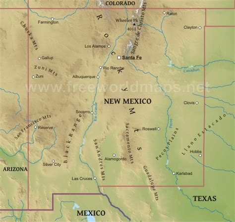 physical map of new mexico physical map of new mexico