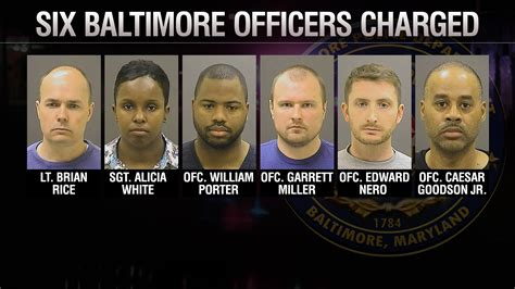 Baltimore Maryland Arrest Records 6 Baltimore Officers After Being Charged In Freddie Gray S Ktla