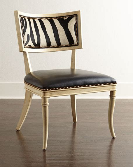 Zebra Dining Chairs Massoud Black Zebra Leather Dining Chair